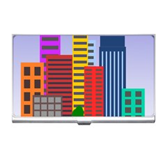 City Skyscraper Buildings Color Car Orange Yellow Blue Green Brown Business Card Holders