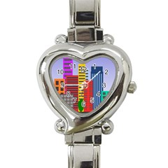 City Skyscraper Buildings Color Car Orange Yellow Blue Green Brown Heart Italian Charm Watch