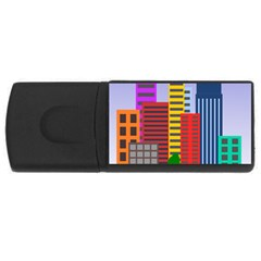 City Skyscraper Buildings Color Car Orange Yellow Blue Green Brown Usb Flash Drive Rectangular (4 Gb) by Alisyart