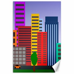 City Skyscraper Buildings Color Car Orange Yellow Blue Green Brown Canvas 24  X 36