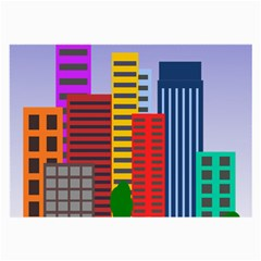 City Skyscraper Buildings Color Car Orange Yellow Blue Green Brown Large Glasses Cloth (2 Side)