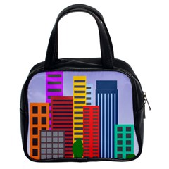 City Skyscraper Buildings Color Car Orange Yellow Blue Green Brown Classic Handbags (2 Sides) by Alisyart