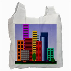 City Skyscraper Buildings Color Car Orange Yellow Blue Green Brown Recycle Bag (two Side)  by Alisyart