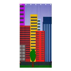 City Skyscraper Buildings Color Car Orange Yellow Blue Green Brown Shower Curtain 36  X 72  (stall)