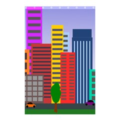City Skyscraper Buildings Color Car Orange Yellow Blue Green Brown Shower Curtain 48  X 72  (small)