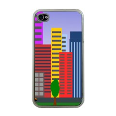 City Skyscraper Buildings Color Car Orange Yellow Blue Green Brown Apple Iphone 4 Case (clear) by Alisyart