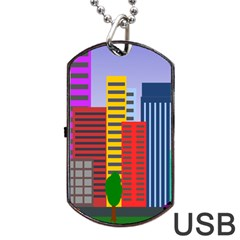 City Skyscraper Buildings Color Car Orange Yellow Blue Green Brown Dog Tag Usb Flash (two Sides) by Alisyart