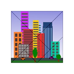 City Skyscraper Buildings Color Car Orange Yellow Blue Green Brown Acrylic Tangram Puzzle (4  X 4 )