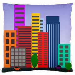 City Skyscraper Buildings Color Car Orange Yellow Blue Green Brown Large Cushion Case (two Sides)