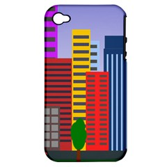 City Skyscraper Buildings Color Car Orange Yellow Blue Green Brown Apple Iphone 4/4s Hardshell Case (pc+silicone) by Alisyart