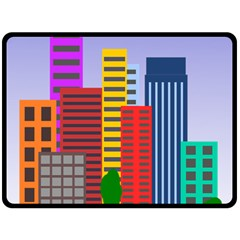 City Skyscraper Buildings Color Car Orange Yellow Blue Green Brown Double Sided Fleece Blanket (large)