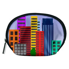 City Skyscraper Buildings Color Car Orange Yellow Blue Green Brown Accessory Pouches (medium)