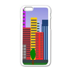 City Skyscraper Buildings Color Car Orange Yellow Blue Green Brown Apple Iphone 6/6s White Enamel Case