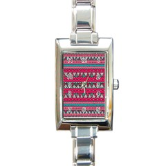 Aztec Geometric Red Chevron Wove Fabric Rectangle Italian Charm Watch