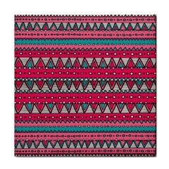 Aztec Geometric Red Chevron Wove Fabric Tile Coasters