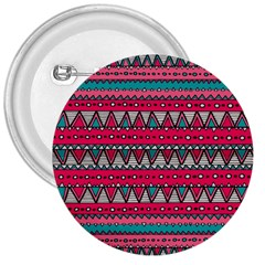 Aztec Geometric Red Chevron Wove Fabric 3  Buttons by Alisyart