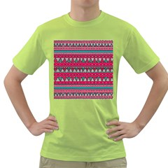 Aztec Geometric Red Chevron Wove Fabric Green T-shirt by Alisyart