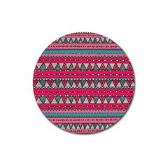 Aztec Geometric Red Chevron Wove Fabric Magnet 3  (round) by Alisyart