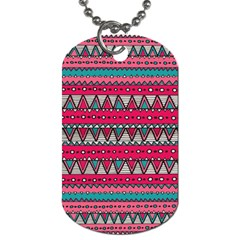 Aztec Geometric Red Chevron Wove Fabric Dog Tag (one Side)