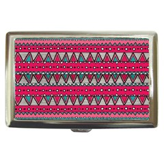 Aztec Geometric Red Chevron Wove Fabric Cigarette Money Cases