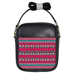 Aztec Geometric Red Chevron Wove Fabric Girls Sling Bags