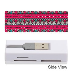 Aztec Geometric Red Chevron Wove Fabric Memory Card Reader (stick)  by Alisyart