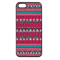 Aztec Geometric Red Chevron Wove Fabric Apple Iphone 5 Seamless Case (black)