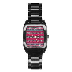 Aztec Geometric Red Chevron Wove Fabric Stainless Steel Barrel Watch by Alisyart