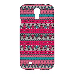 Aztec Geometric Red Chevron Wove Fabric Samsung Galaxy S4 I9500/i9505 Hardshell Case by Alisyart