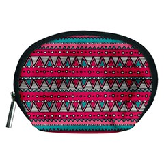 Aztec Geometric Red Chevron Wove Fabric Accessory Pouches (medium)