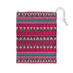 Aztec Geometric Red Chevron Wove Fabric Drawstring Pouches (large)