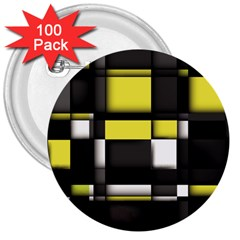 Color Geometry Shapes Plaid Yellow Black 3  Buttons (100 Pack)