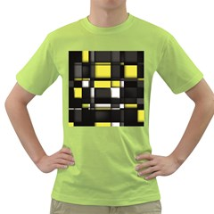 Color Geometry Shapes Plaid Yellow Black Green T Shirt by Alisyart