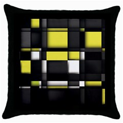 Color Geometry Shapes Plaid Yellow Black Throw Pillow Case (black)