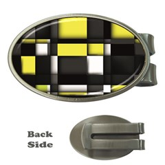 Color Geometry Shapes Plaid Yellow Black Money Clips (oval)  by Alisyart