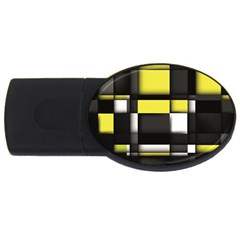 Color Geometry Shapes Plaid Yellow Black Usb Flash Drive Oval (2 Gb) by Alisyart