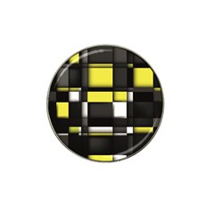 Color Geometry Shapes Plaid Yellow Black Hat Clip Ball Marker by Alisyart