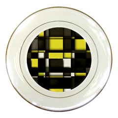 Color Geometry Shapes Plaid Yellow Black Porcelain Plates by Alisyart