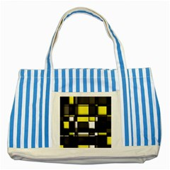 Color Geometry Shapes Plaid Yellow Black Striped Blue Tote Bag by Alisyart