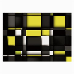Color Geometry Shapes Plaid Yellow Black Large Glasses Cloth (2 Side) by Alisyart