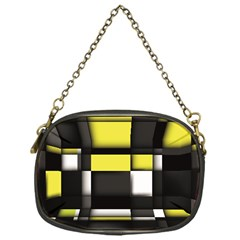 Color Geometry Shapes Plaid Yellow Black Chain Purses (one Side)  by Alisyart