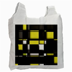 Color Geometry Shapes Plaid Yellow Black Recycle Bag (one Side)
