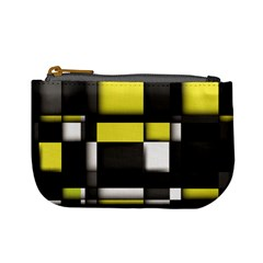 Color Geometry Shapes Plaid Yellow Black Mini Coin Purses