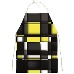 Color Geometry Shapes Plaid Yellow Black Full Print Aprons