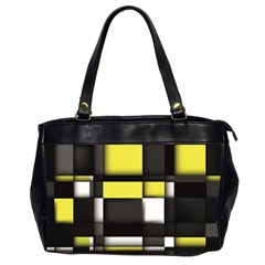 Color Geometry Shapes Plaid Yellow Black Office Handbags (2 Sides)  by Alisyart