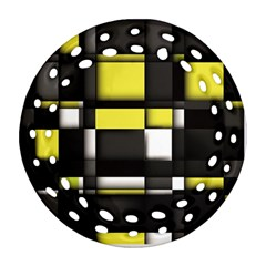 Color Geometry Shapes Plaid Yellow Black Round Filigree Ornament (two Sides)