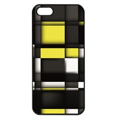 Color Geometry Shapes Plaid Yellow Black Apple Iphone 5 Seamless Case (black)