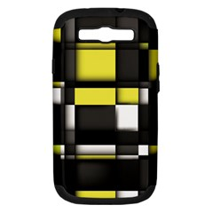Color Geometry Shapes Plaid Yellow Black Samsung Galaxy S Iii Hardshell Case (pc+silicone)