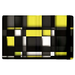 Color Geometry Shapes Plaid Yellow Black Apple Ipad 2 Flip Case