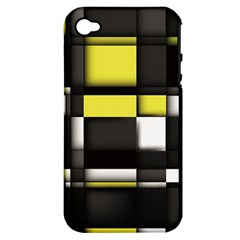 Color Geometry Shapes Plaid Yellow Black Apple Iphone 4/4s Hardshell Case (pc+silicone)